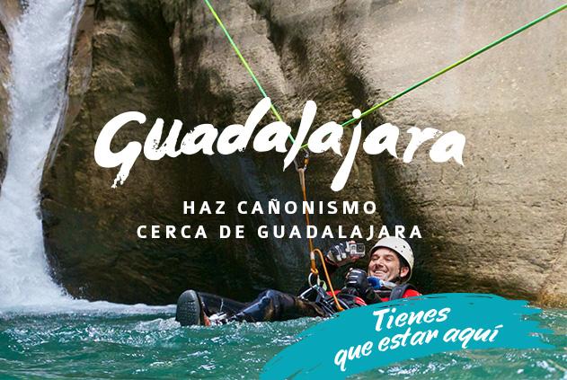 Saltos, rappel y toboganes cerca de Guadalajara